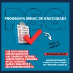 Programa Senac de Gratuidade: 1220 vagas disponíveis